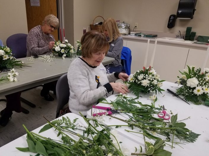 Charlotte at our Flower Arranging Class